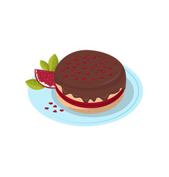 Pomegranate pie sweet fruit food dessert vector