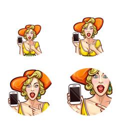 Pop art avatar icon of shocked surprised vector