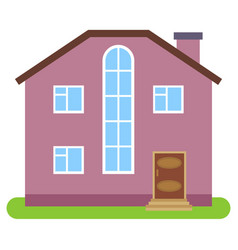 private house with a brown roof and pink walls vector image