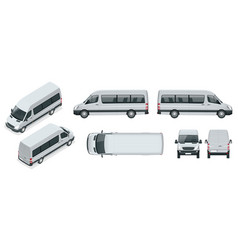 Realistic set of van template isolated passenger vector