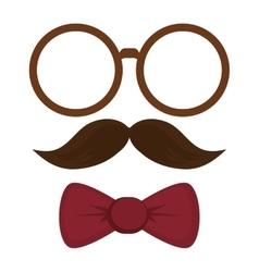 Round frame mustache bowtie vector