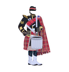 Scottish traditional clothing tenor drum vector