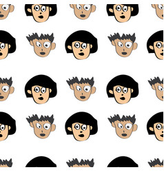 seamless pattern cartoon face boy and girl vector image