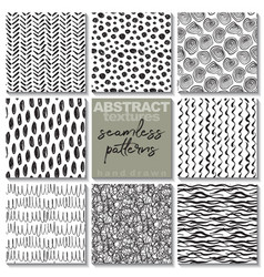 Set eight hand drawn ink seamless patterns vector