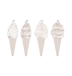 set of line drawing ice creams hand drawn vector image