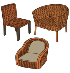Set of wicker chair vector