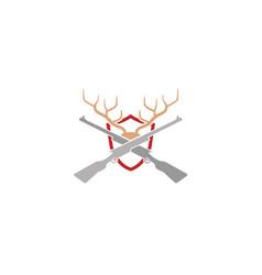Shield gun hunting deer horn logo vector
