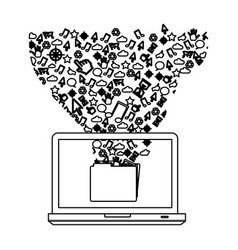 Silhouette computer with technological icon vector