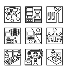Simple line icons for co-working vector image vector image