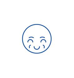 Sly emoji line icon concept sly emoji flat vector