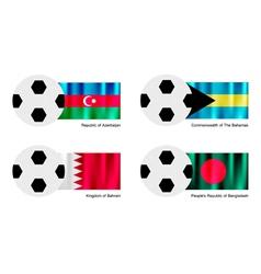Soccer Ball with Azerbaijan Bahamas Bahrain flag vector image