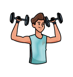 Sport man weight strong workout weight draw vector