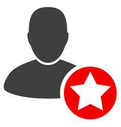 Star favourites person flat icon vector