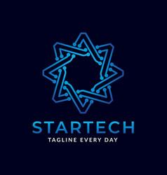 Star tech logo design template vector
