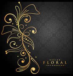 stylish golden floral on black background vector image