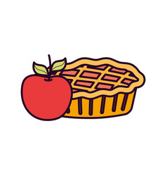 Sweet pie and apple on white background vector