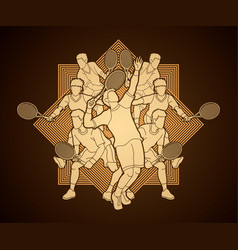 tennis players men action graphic vector image