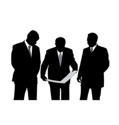 Three businessmen looking at a new project plan vector