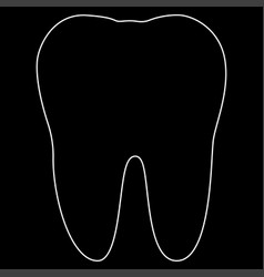 Tooth the white path icon vector
