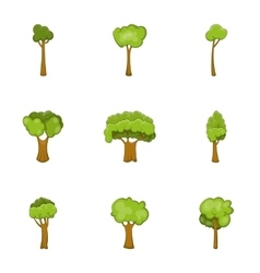 Trees of different shapes icons set cartoon style vector image