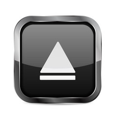 Up button black glass 3d icon with metal frame vector