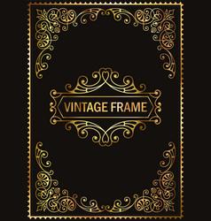 Vintage decorative frame gold vector