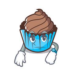 Waiting chocolate cupcake mascot cartoon vector