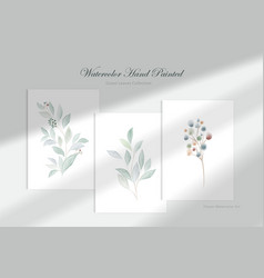 watercolor hand painted green leaf collection vector image