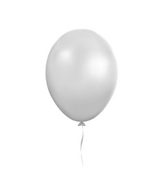 white balloon party baloon with ribbon and vector image