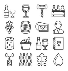wine icons set on white background line style vector image