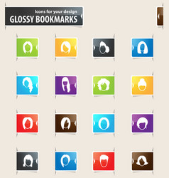 woman bookmark icons vector image