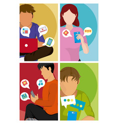 young people using social media vector image