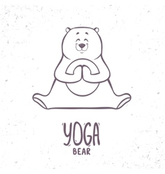cute silhouette yoga bear vector image vector image