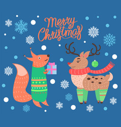 merry christmas cute poster on vector image vector image