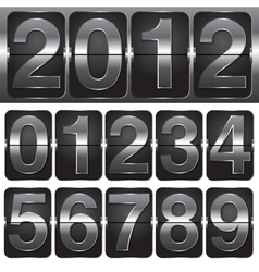 set of numbers on mechanical timetable vector image