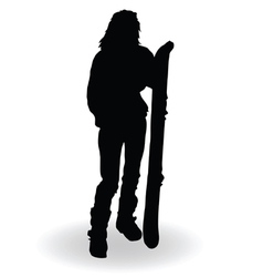 snowboarding woman silhouette vector image