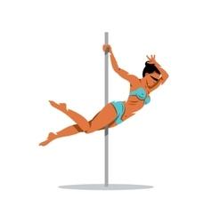 Beautiful dancer girl on the pole Cartoon vector image