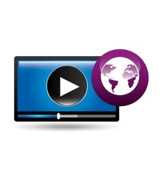video player globe interface design vector image
