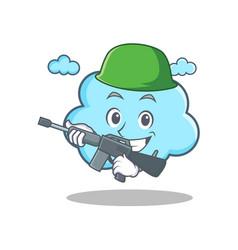 Army cute cloud character cartoon vector