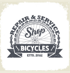 bicycles shop monochrome logo vector image vector image