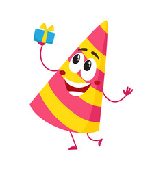 birthday party hat character with smiling human vector image