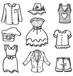 Doodle of women fashion clothes hand draw vector