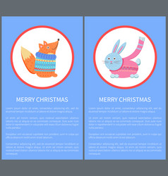 merry christmas animal fox in sweater and rabbit vector image vector image