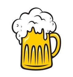 Overflowing tankard of frothy beer vector image vector image