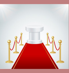 red event carpet round podium and gold rope vector image