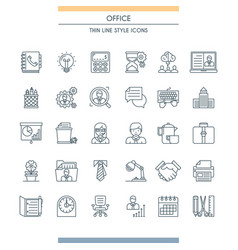 thin line design office icons vector image vector image