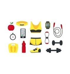 Cartoon Woman Sport Set vector image vector image