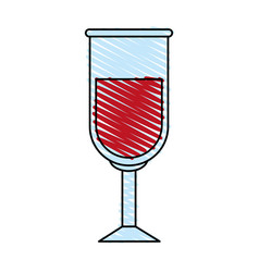 color crayon stripe image glass cup with red wine vector image