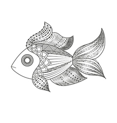 doodle coloring monochrome fish vector image vector image