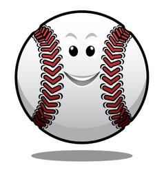 Happy white cartoon baseball ball vector image